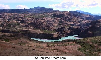 Mountain river show power water in Patagonia Argentina....