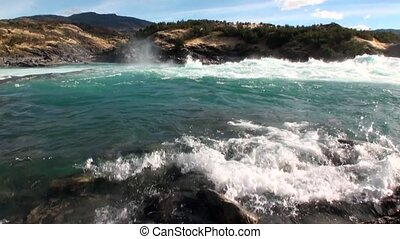 Rapids of mountain river show power water in Patagonia...