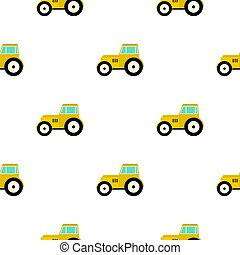 Yellow tractor pattern flat - Yellow tractor pattern...