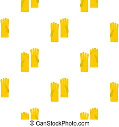 Yellow rubber gloves pattern flat - Yellow rubber gloves...