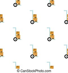 Hand truck with cardboard boxes pattern flat