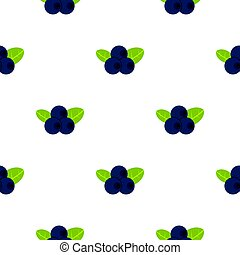 Fresh blueberries with leaves pattern flat