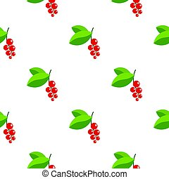 Red currants branch with green leaves pattern flat