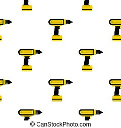 Yellow electric screwdriver drill pattern flat - Yellow...