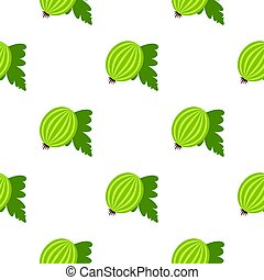 Fresh green gooseberry with leaves pattern flat