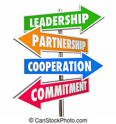 Partnership Leadership Collaboration Signs 3d Illustration