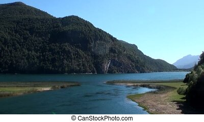 Calm quiet mountain river show in Patagonia Argentina....