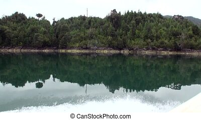 Coast of green mountain river view from boat in Patagonia...