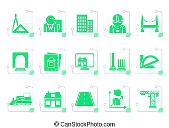 Stylized architecture and construction icons