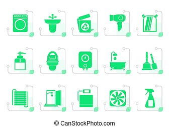 Stylized Bathroom and toilet objects and icons