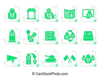 Stylized Politics, election and political party icons -...