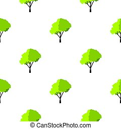 Green tree with fluffy crown pattern flat