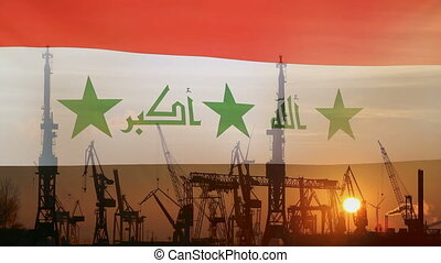 Industrial concept with Iraq flag at sunset, silhouette of...