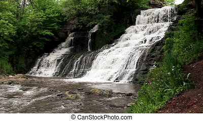 big waterfall in forest