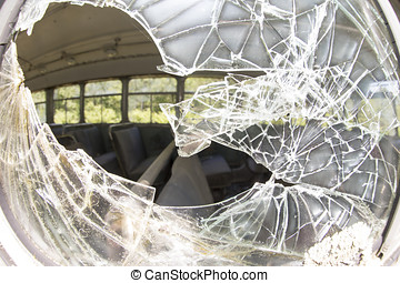 Broke safety glass on bus - Old damaged public bus through...