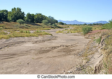 Santa Cruz River bed, Arizona - Santa Cruz River bed near...
