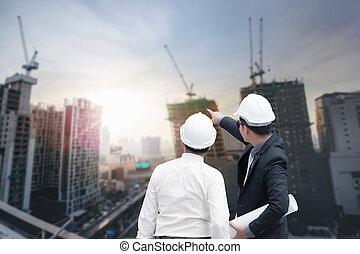 dedo,  Industrial, trabalhando, Ponto, conceito, afastado, vista, costas, junto, olhar, construção, arquiteta, Asiático, fundo, equipe, homem negócios, plano, ter, engenheiro