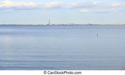 The view on the coast of St. Petersburg from the shore of...