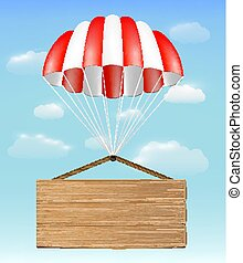 wood board sign with parachute on sky background