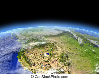 California from space - California from Earth's orbit in...