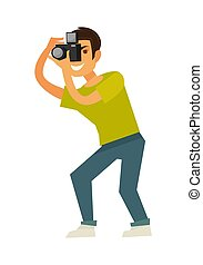 Man photographer takes photo with reflex camera isolated...