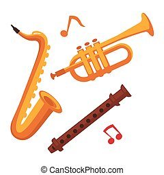 Musical instruments set on white with note signs