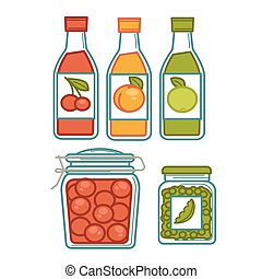 Juice in bottles and preserves in jars poster - Homemade...