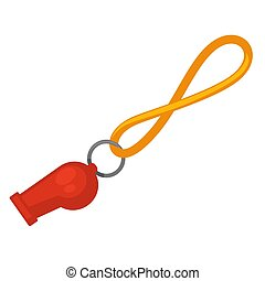 Lifeguard red whistle with yellow line isolated on white....