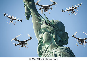Many drones with digital camera flying around statue of...