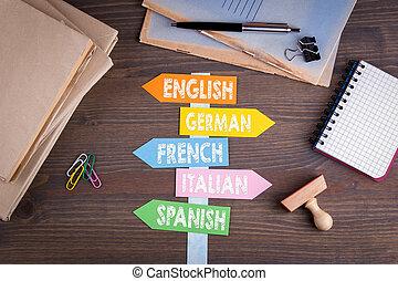 languages concept. Paper signpost on a wooden desk.
