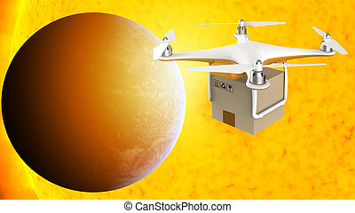 Drone flying with a delivery box package in the space