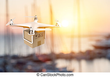Drone flying with a delivery box package in an harbour