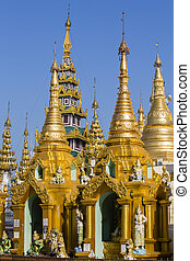 Shwedagon Pagoda in Yangon, Myanmar. - Shwedagon Pagoda at...