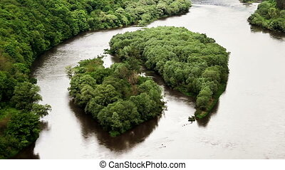 beautiful islands on big river - aerial view of islands Yin...