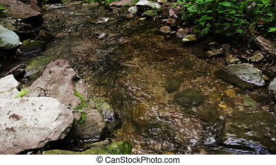 cascade falls in forest - view of Rusyliv Falls is located...
