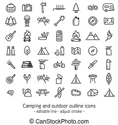 Camping and outdoor outline icons - editable line - adjust...