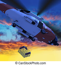 3d illustration of Coast guard helicopter with rescue basket...