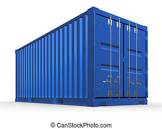 3d illustration of blue container isolated.