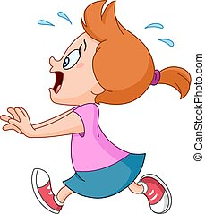 Running panic girl - Scared and panicked young girl running