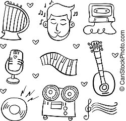 Collection doodle musical instrument theme