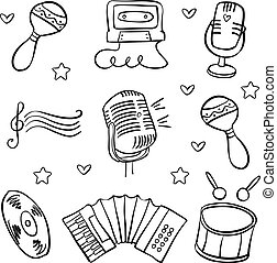 Vector art music object various doodles collection