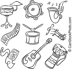 Musical instrument doodle style collection