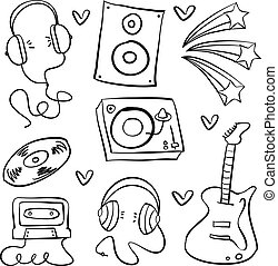 Collection stock of musical instrument doodles
