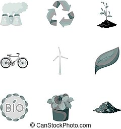 The ecology of the earth, the problems of ecology, ways to combat the ravages.Bio and Ecology icon in set collection on monochrome style vector symbol stock illustration.