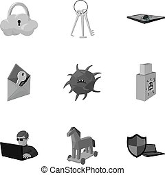 A selection of icons about protection and breaking. Modern...