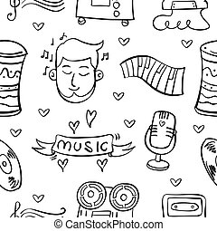 Collection stock musical instrument doodles