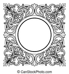 Vintage Imperial Baroque Mirror round frame. Vector French...