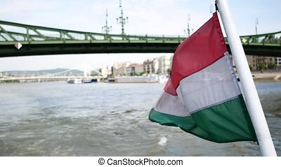 View of Danube River and Hungary flag - The building of the...