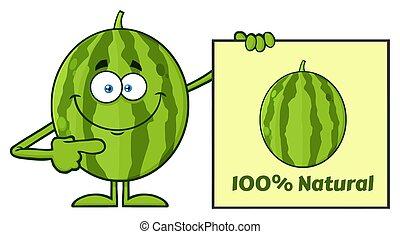 Smiling Green Watermelon Fresh Fruit Cartoon Mascot...