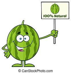 Green Watermelon Fresh Fruit Cartoon Mascot Character...